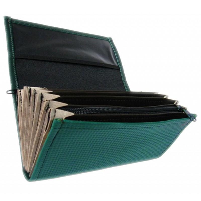 Čašnícka peňaženka - 2 zipsy, koženka, tmavo zelená