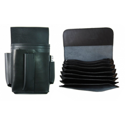 Leather kit :: full genuine beef leather billfold (black) + pouch – a cigarette lighter and a bottle opener