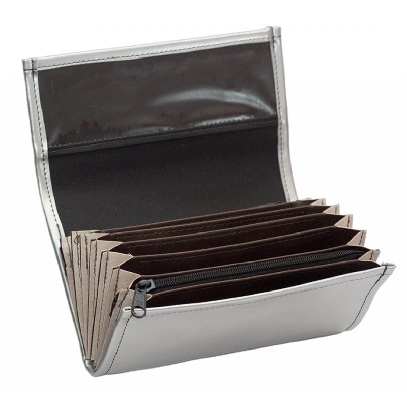Čašnícka peňaženka - 2 zipsy, koženka, strieborná