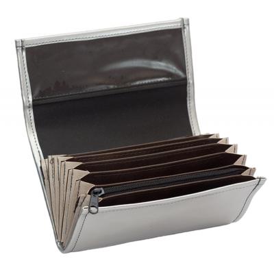 Číšnická peněženka - koženka, stříbrná