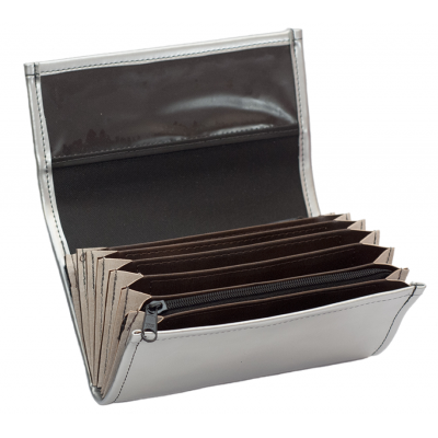 Waiter's moneybag - 2 zippers, artificial leather,silver