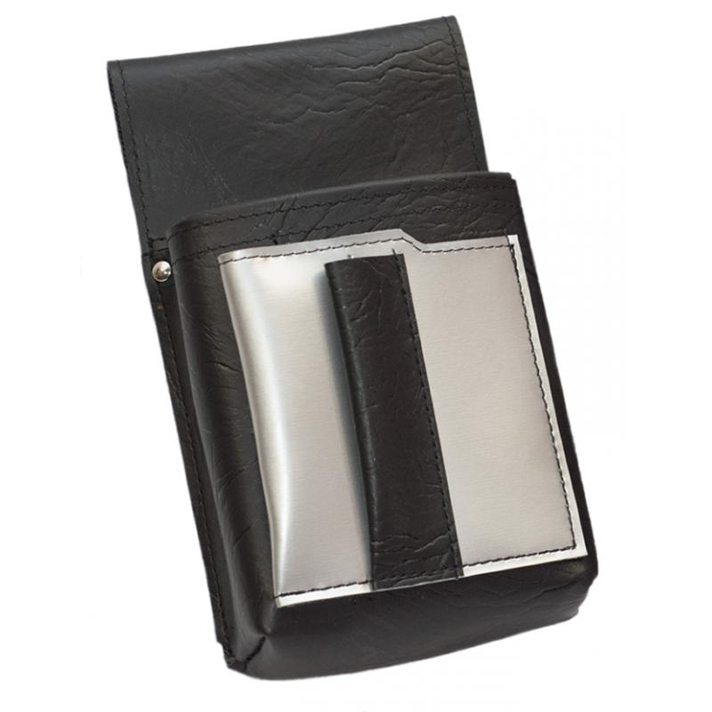 Číšnické pouzdro, kapsa s barevným prvkem - koženka,stříbrná
