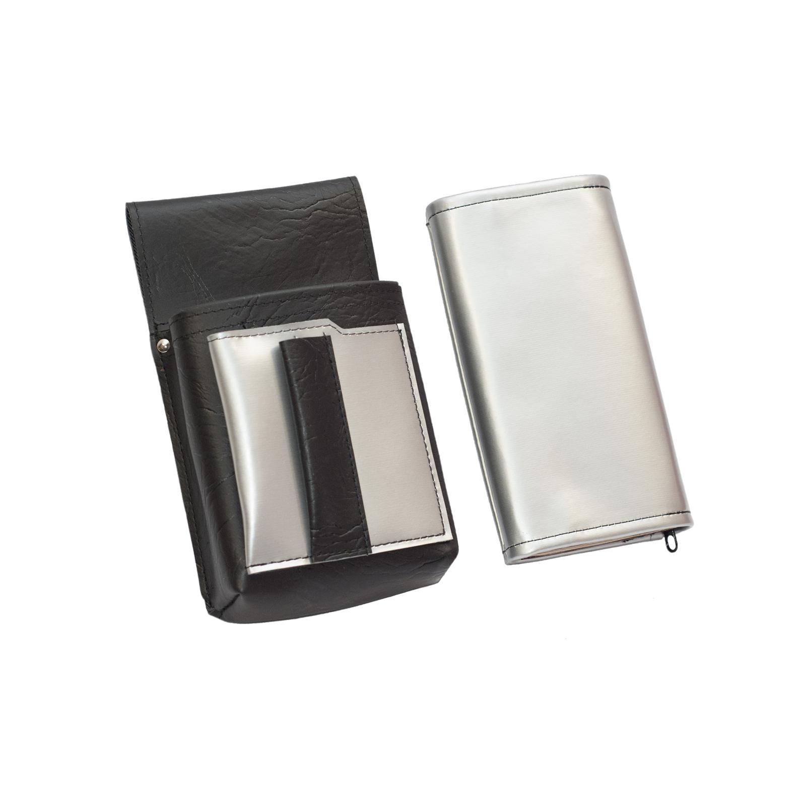 695ccd839 Koženkový set - peňaženka (strieborná, 2 zipsy) a vrecko s farebným prvkom