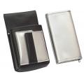 Kunstlederset - Brieftasche (silber, 2 Reißverschlüsse) und Futteral mit einem farbigen Element