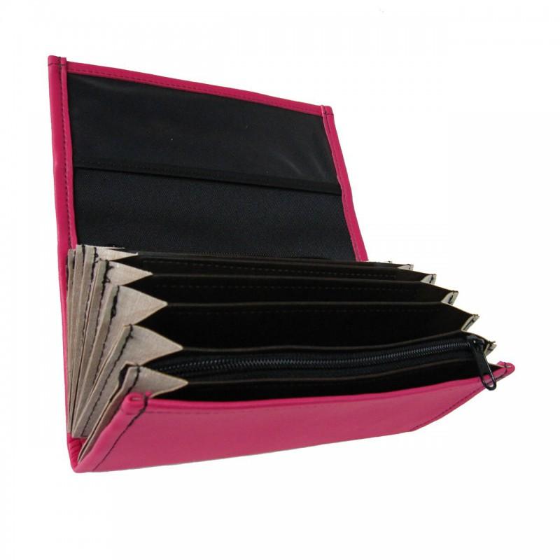 Čašnícka peňaženka - 2 zipsy, koženka, ružová