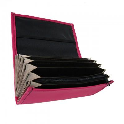 Kellnerportemonnaie – 2 Reißverschlüsse, Kunstleder, rosa