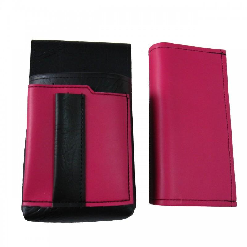 Kunstlederset - Brieftasche (rosa, 2 Reißverschlüsse) und Futteral mit einem farbigen Element