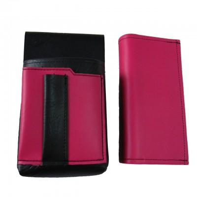 Koženkový set - peňaženka (ružová, 2 zipsy) a vrecko s farebným prvkom