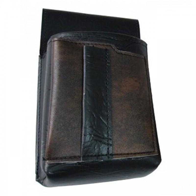 Kellnertasche, Kellnerbeutel mit einem farbigen Element - Kunstleder, schwarz-braun