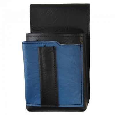 Číšnické pouzdro, kapsa s barevným prvkem - koženka,modrá