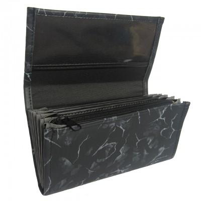Čašnícka peňaženka - 2 zipsy, koženka, striekaná