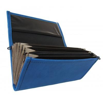 Čašnícka peňaženka - 2 zipsy, koženka, modrá
