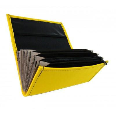 Čašnícka peňaženka - 2 zipsy, koženka, žltá