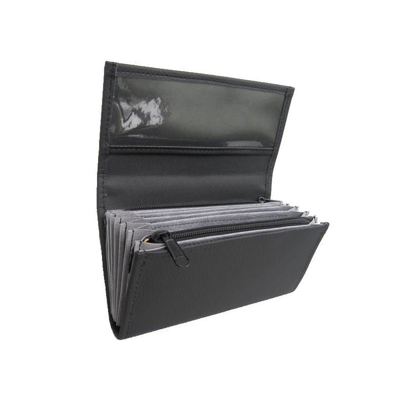 Kellnerportemonnaie – 2 Reißverschlüsse, Kunstleder, schwarz