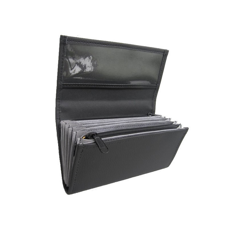 Waiter's moneybag - 2 zippers, artificial leather, black