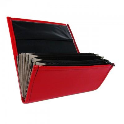 Číšnická kasírka - 1 zip, koženka, červená