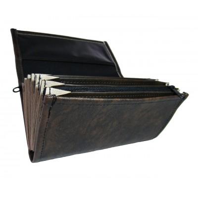 Číšnická kasírka - 1 zip, koženka,černo-hnědá