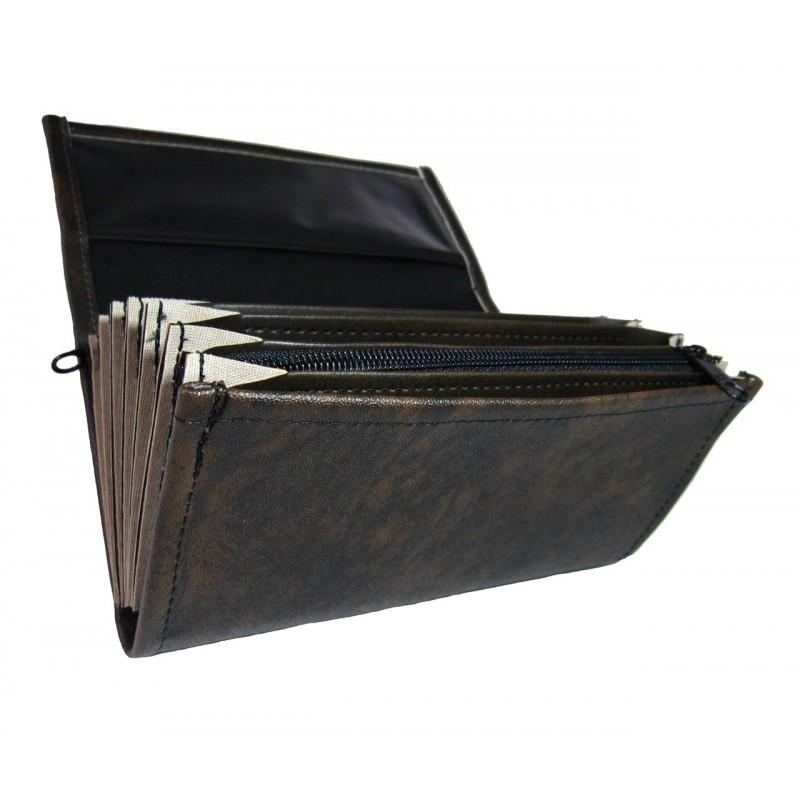 Čašnícka peňaženka - 2 zipsy, koženka, čierno-hnedá
