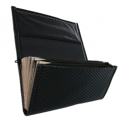 Waiter's moneybag - 2 zippers, artificial leather,grooved, black