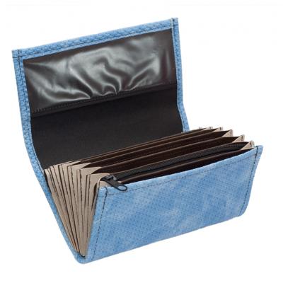 Číšnická kasírka - 1 zip, koženka, vroubkovaná, modrá