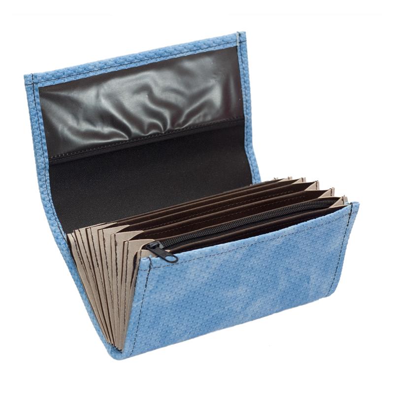 Čašnícka peňaženka - 2 zipsy, koženka, vrúbkovaná, modrá