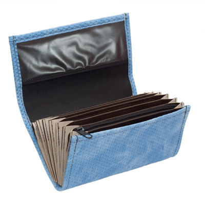 Waiter's moneybag - 2 zippers, artificial leather,grooved, blue