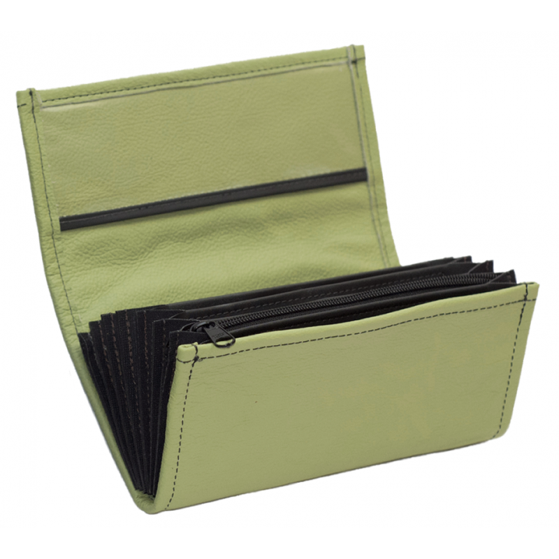 Leather waiter's purse - olive green