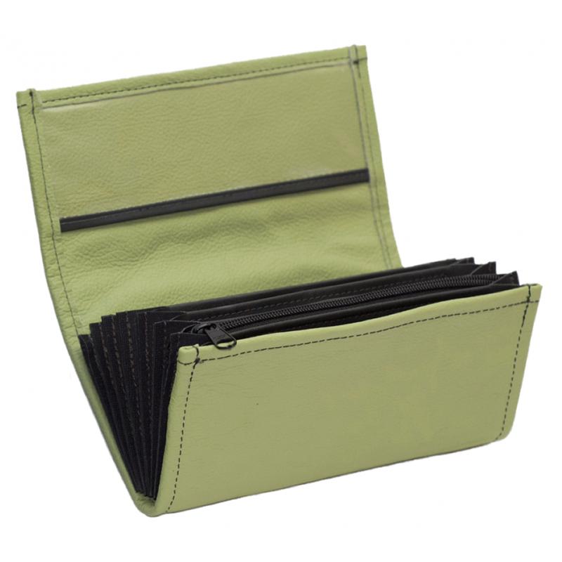 Leder-Kellnerbrieftasche - olivgrün