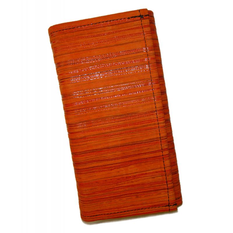 Kožená kasírka - oranžová proužky