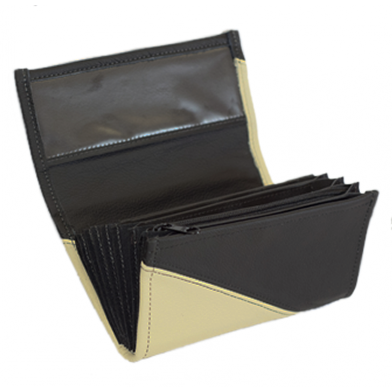 Leather waiter's purse - ivory/black