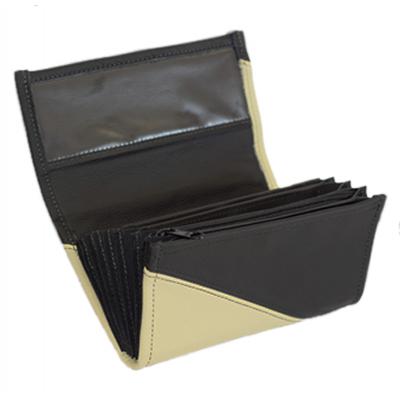 Leder-Kellnerbrieftasche - Elefantenhaut/schwarz