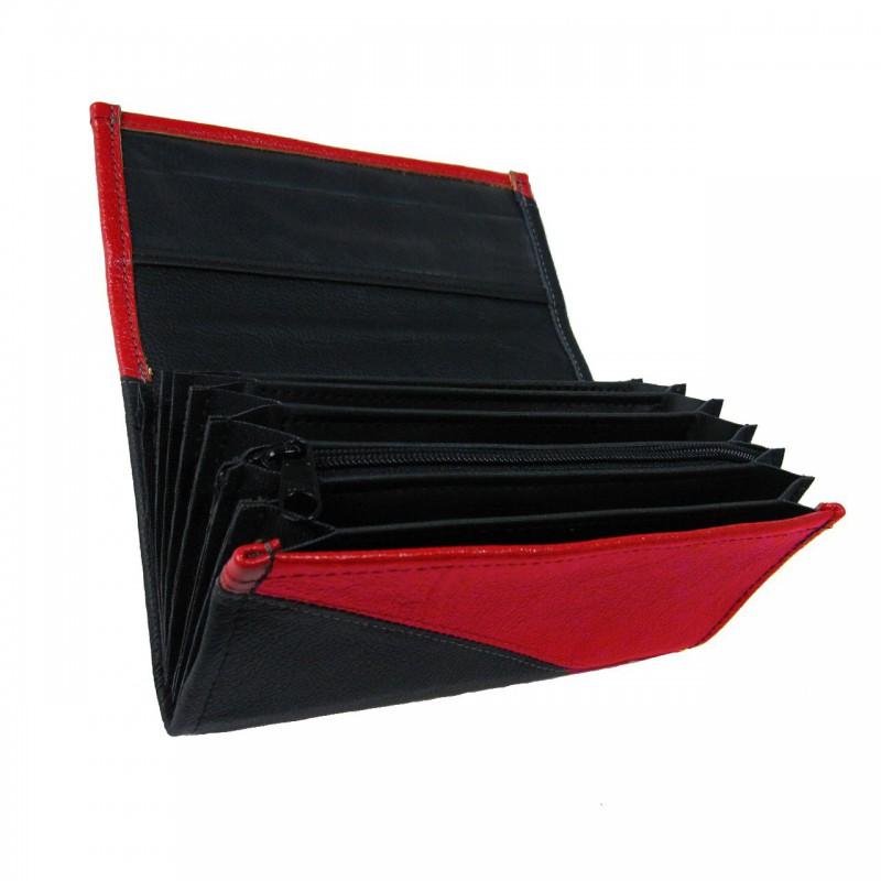 Leder-Kellnerbrieftasche - rot/schwarz