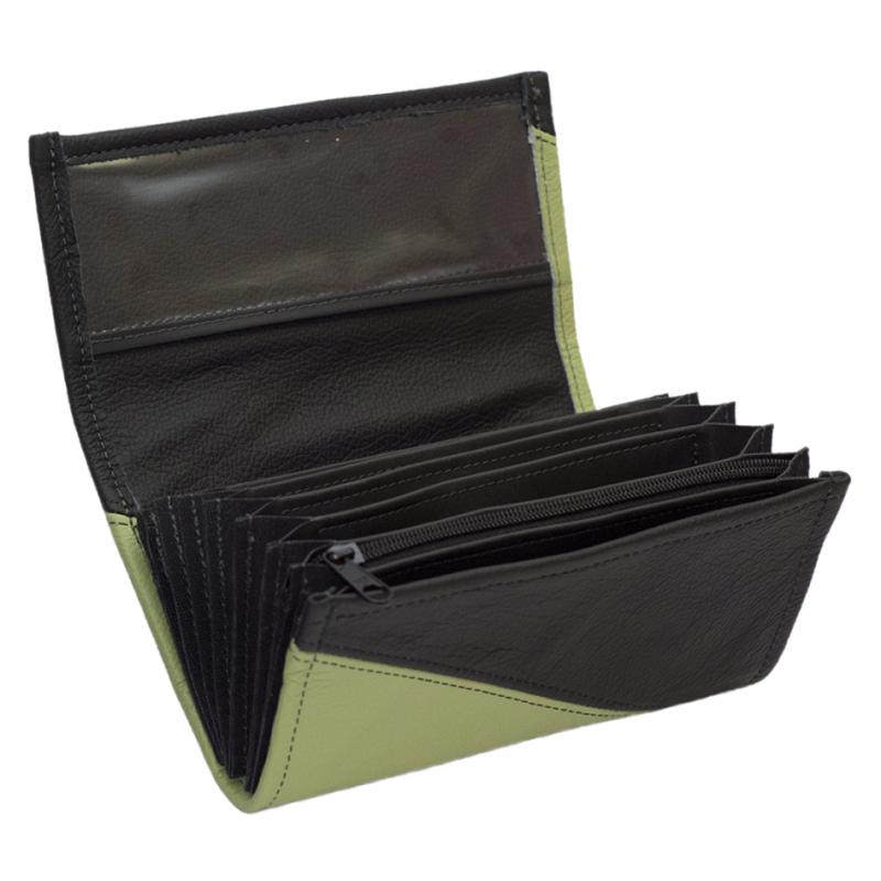 Leder-Kellnerbrieftasche - olivgrün/schwarz