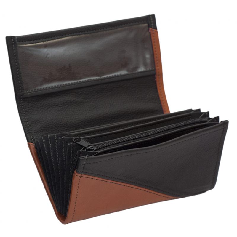 Kožená kasírka - terakota/černá