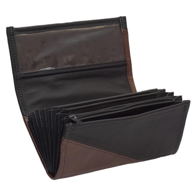 Kožená peňaženka - hnedá/čierna