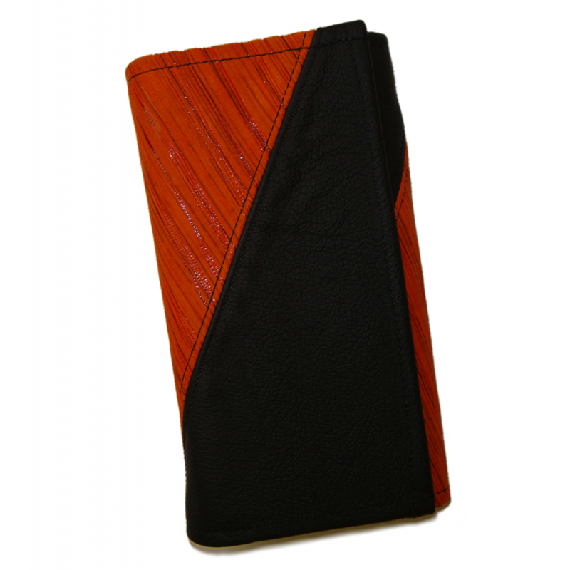 Leather waiter's purse - striped orange/black