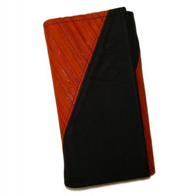 Kožená peňaženka - oranžová prúžky/čierna