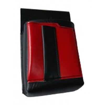 Waiter's holster, pouch with a colour element - artificial leather, red