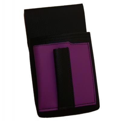 Číšnické pouzdro, kapsa s barevným prvkem - koženka,fialová