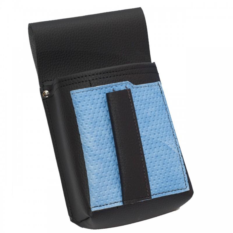 Kellnertasche, Kellnerbeutel mit einem farbigen Element - Kunstleder, gezackt, blau