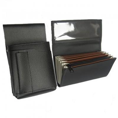 Číšnická sada - peněženka (černá, imitace kůže, 1 zip) a pouzdro New Barex