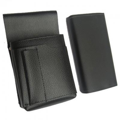 Kellnerkomplet - Geldbörse (schwarz, Lederimitation, 2 Reißverschlüsse) und Tasche New Barex