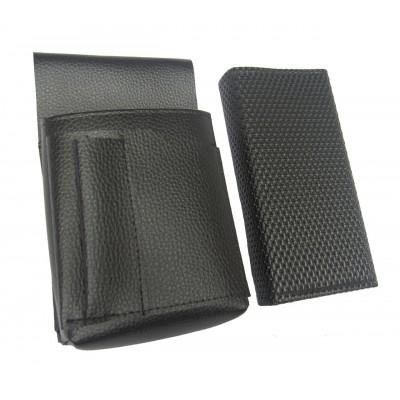 Čašnícka sada - peňaženka (čierna, vrúbkovaná,  koženka, 2 zipsy) a puzdro New Barex