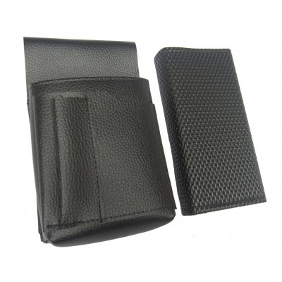 Waiter's kit - wallet (black, grooved, artificial leather, 2 zippers) and holster New Barex