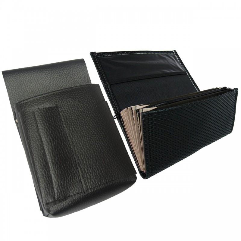 Číšnická sada - peněženka (černá, vroubkovaná, koženka, 1 zip) a pouzdro New Barex