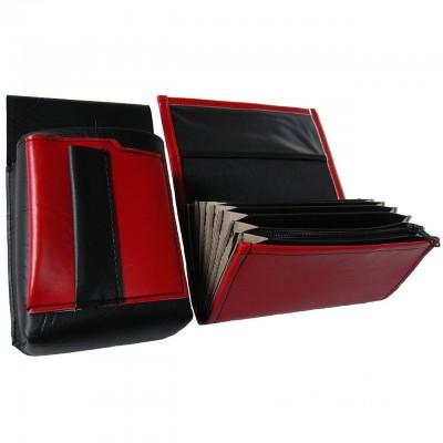 Koženkový set - kasírka (červená, 1 zip) a kapsa s barevným prvkem