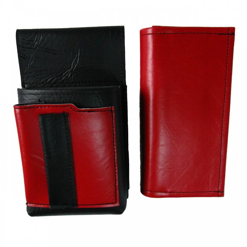 Kunstlederset - Brieftasche (rot, 2 Reißverschlüsse) und Futteral mit einem farbigen Element
