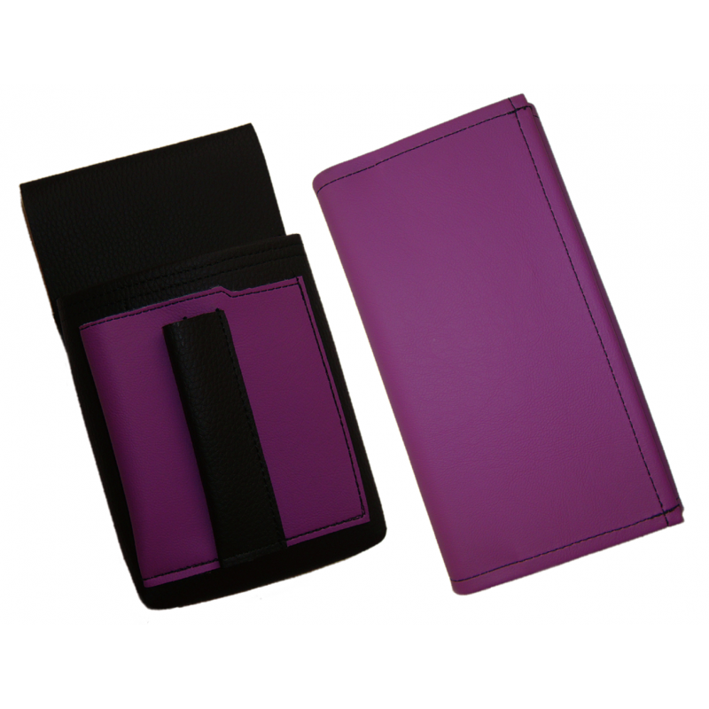 Artificial leather set - moneybag (violet, 2 zippers) and pouch with a colour element