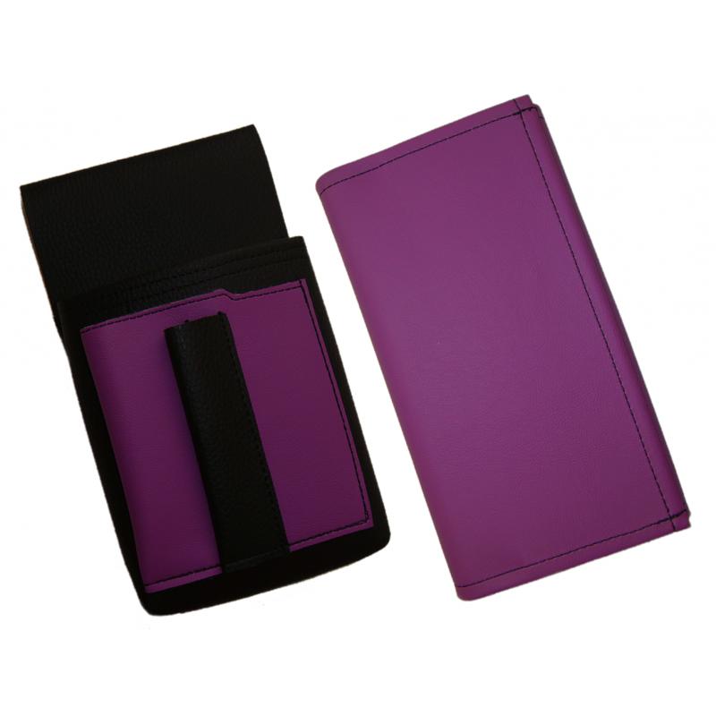Kunstlederset - Brieftasche (lila, 2 Reißverschlüsse) und Futteral mit einem farbigen Element