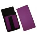 Koženkový set - peňaženka (fialová, 2 zipsy) a vrecko s farebným prvkom